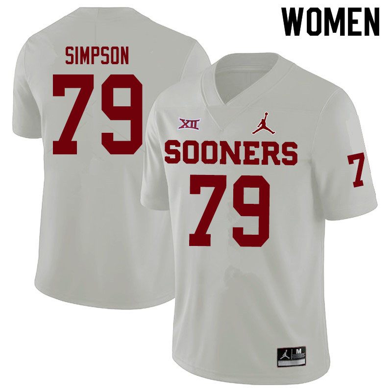 Women #79 Darrell Simpson Oklahoma Sooners Jordan Brand College Football Jerseys Sale-White