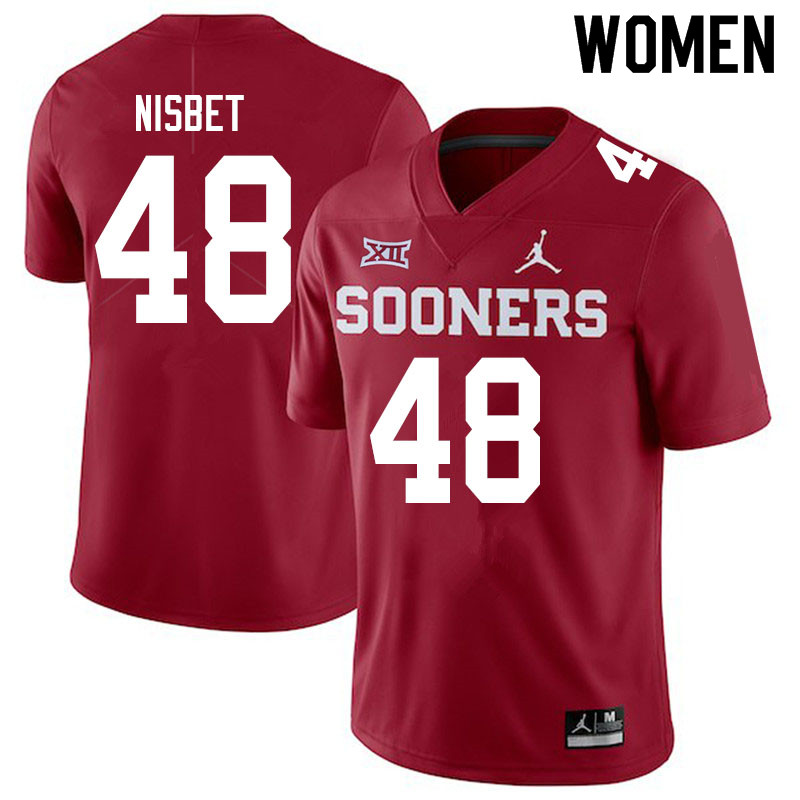 Women #48 Deuce Nisbet Oklahoma Sooners Jordan Brand College Football Jerseys Sale-Crimson