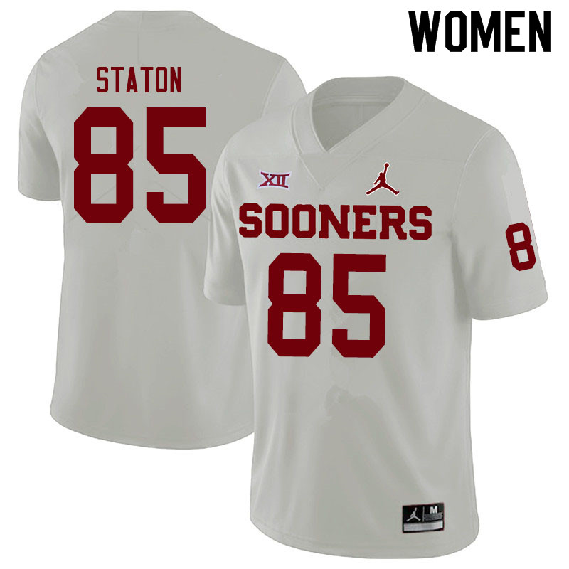 Women #85 Devin Staton Oklahoma Sooners Jordan Brand College Football Jerseys Sale-White