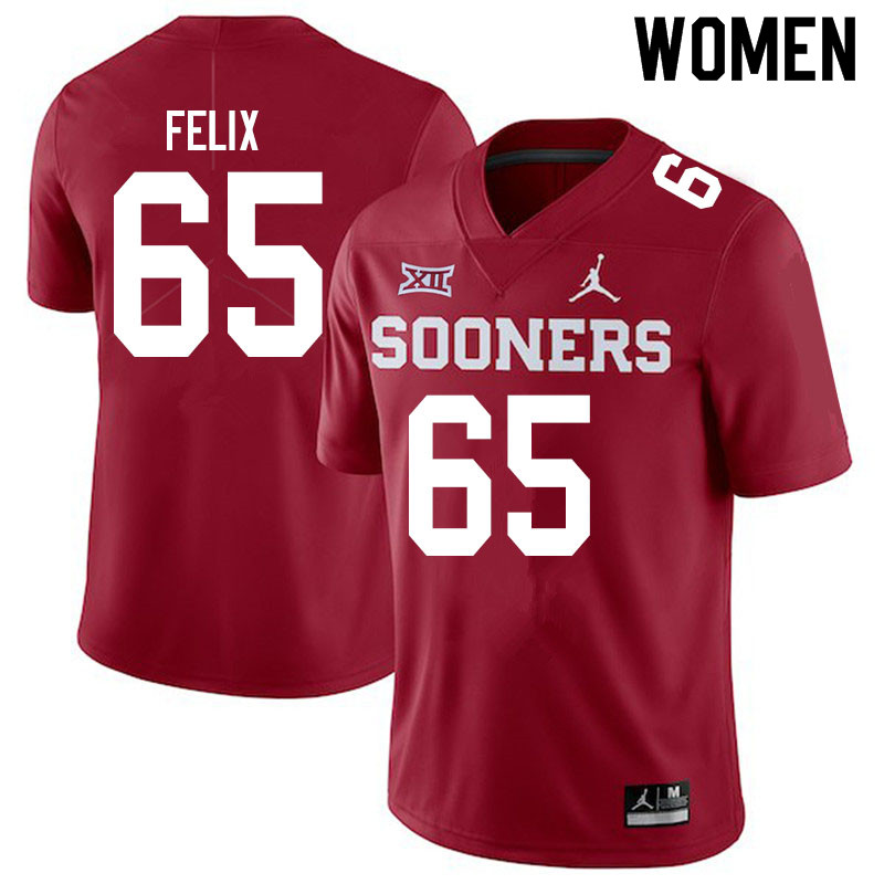 Women #65 Finley Felix Oklahoma Sooners Jordan Brand College Football Jerseys Sale-Crimson