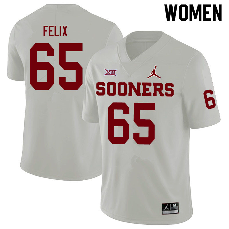 Women #65 Finley Felix Oklahoma Sooners Jordan Brand College Football Jerseys Sale-White