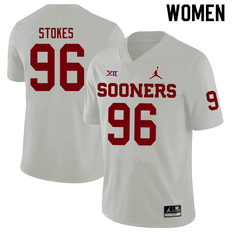 Women #96 LaRon Stokes Oklahoma Sooners Jordan Brand College Football Jerseys Sale-White