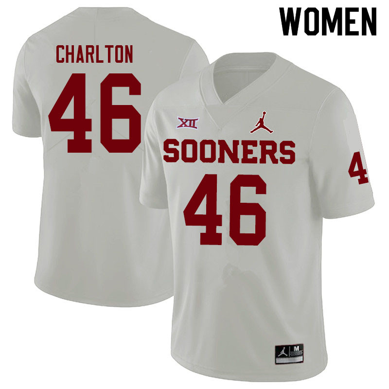 Women #46 Robert Charlton Oklahoma Sooners Jordan Brand College Football Jerseys Sale-White