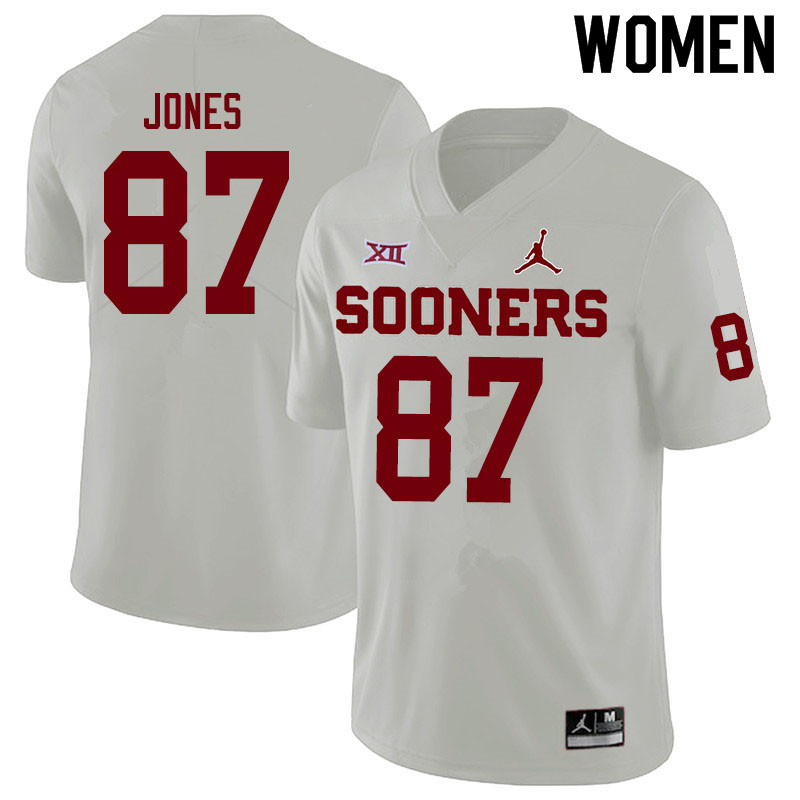 Women #87 Spencer Jones Oklahoma Sooners Jordan Brand College Football Jerseys Sale-White