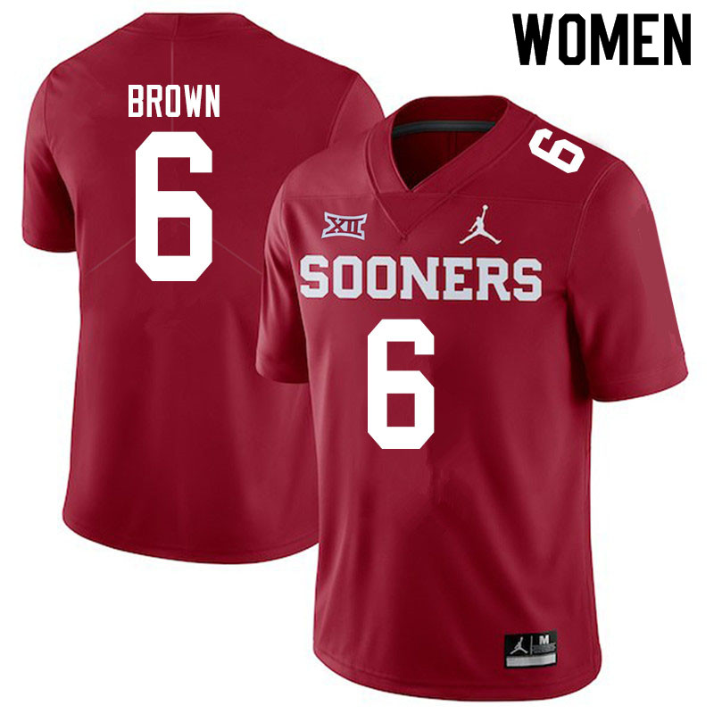 Women #6 Tre Brown Oklahoma Sooners Jordan Brand College Football Jerseys Sale-Crimson