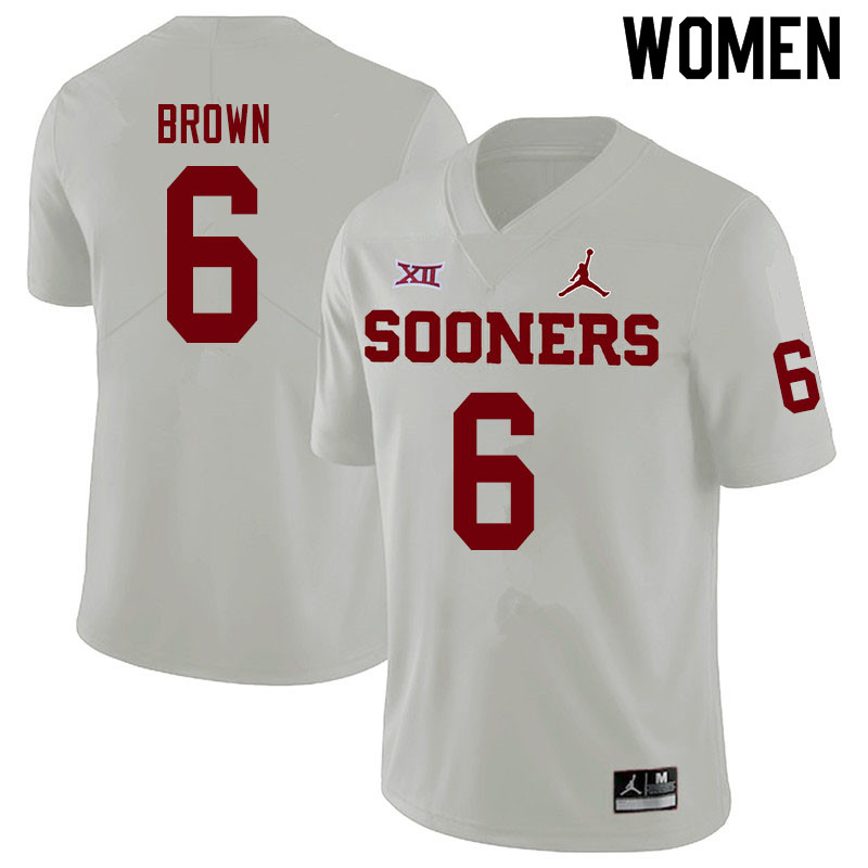 Women #6 Tre Brown Oklahoma Sooners Jordan Brand College Football Jerseys Sale-White