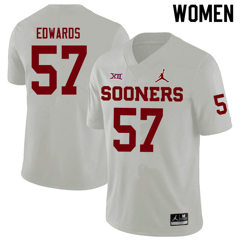 Women #57 Zach Edwards Oklahoma Sooners Jordan Brand College Football Jerseys Sale-White