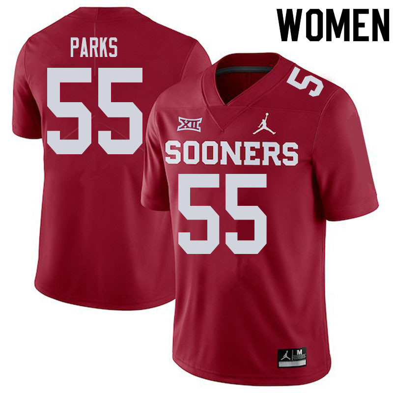 Women #55 Aaryn Parks Oklahoma Sooners College Football Jerseys Sale-Crimson
