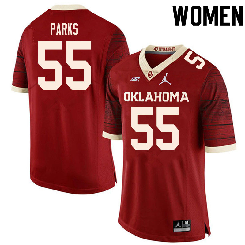 Women #55 Aaryn Parks Oklahoma Sooners College Football Jerseys Sale-Retro