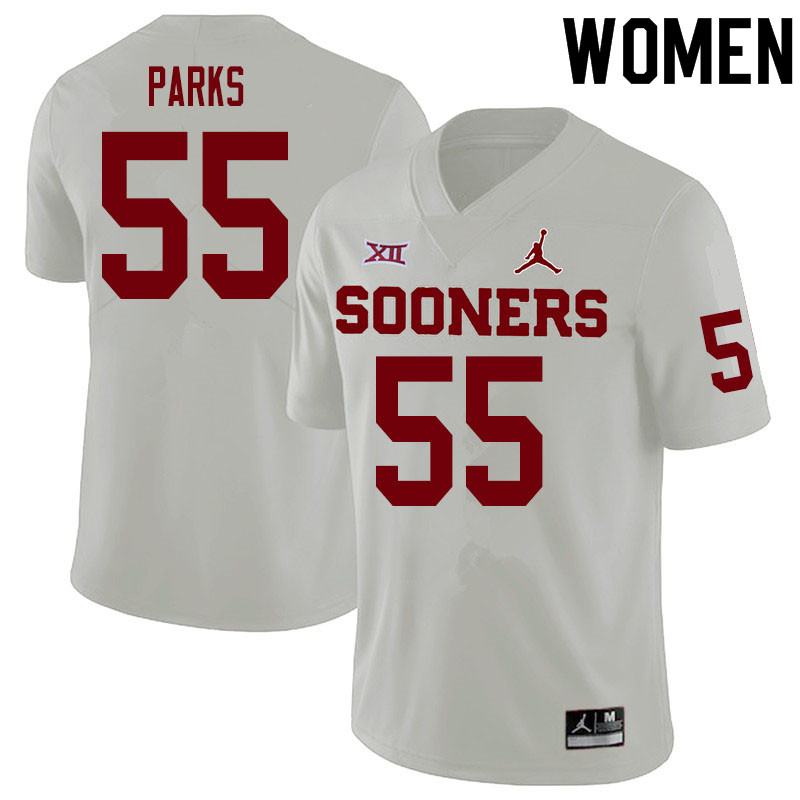 Women #55 Aaryn Parks Oklahoma Sooners College Football Jerseys Sale-White