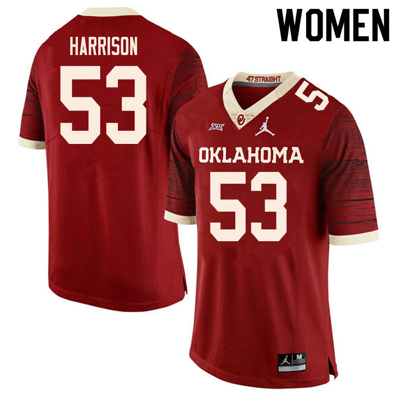 Women #53 Anton Harrison Oklahoma Sooners College Football Jerseys Sale-Retro