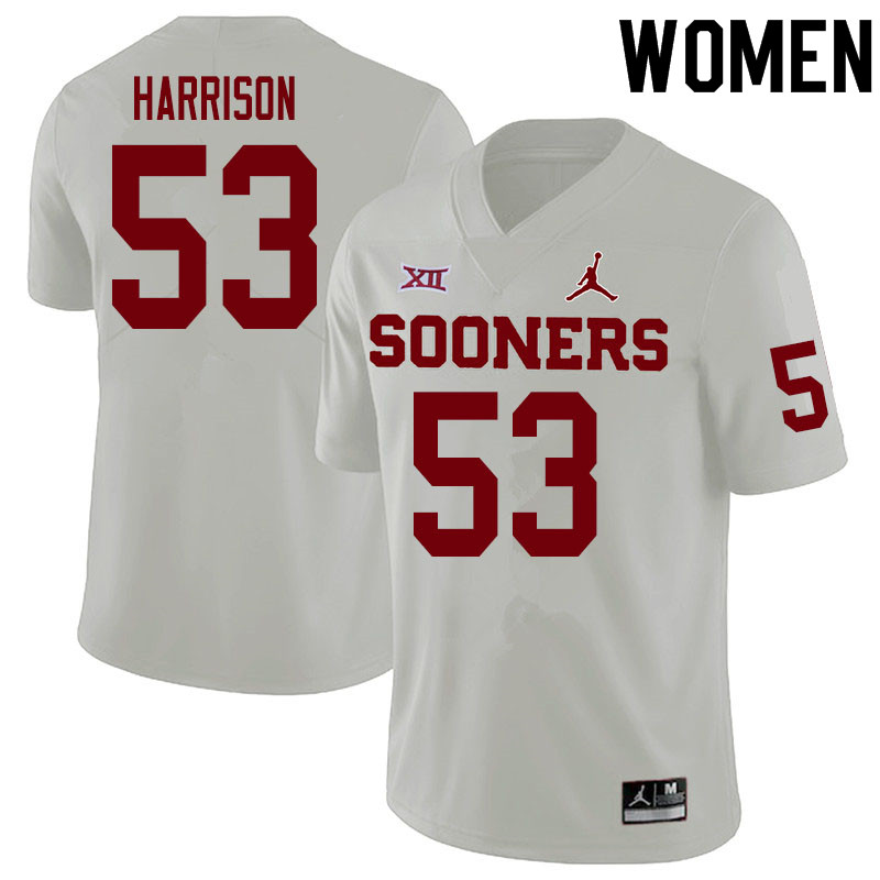 Women #53 Anton Harrison Oklahoma Sooners College Football Jerseys Sale-White