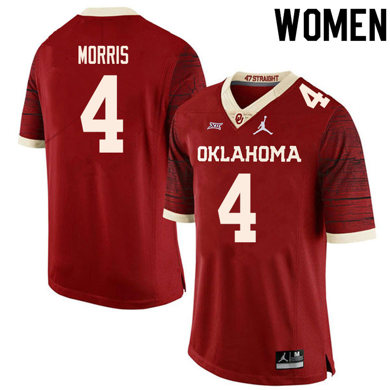 Women #4 Chandler Morris Oklahoma Sooners College Football Jerseys Sale-Retro