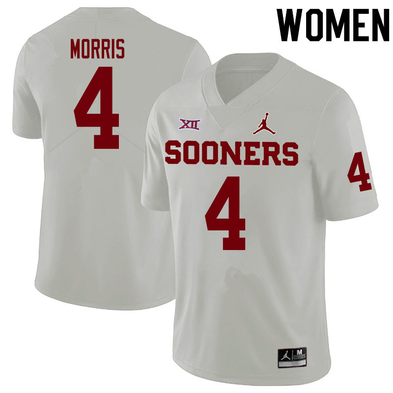 Women #4 Chandler Morris Oklahoma Sooners College Football Jerseys Sale-White