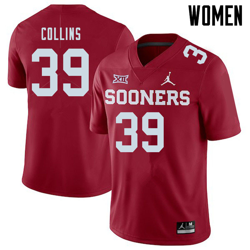 Jordan Brand Women #39 Doug Collins Oklahoma Sooners College Football Jerseys Sale-Crimson