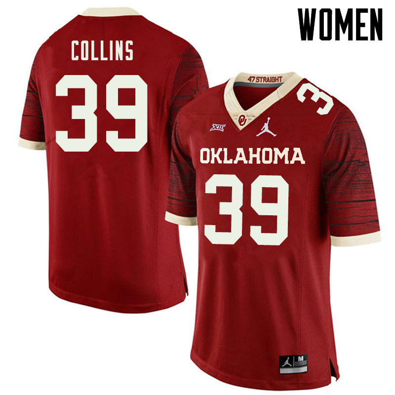 Jordan Brand Women #39 Doug Collins Oklahoma Sooners College Football Jerseys Sale-Retro