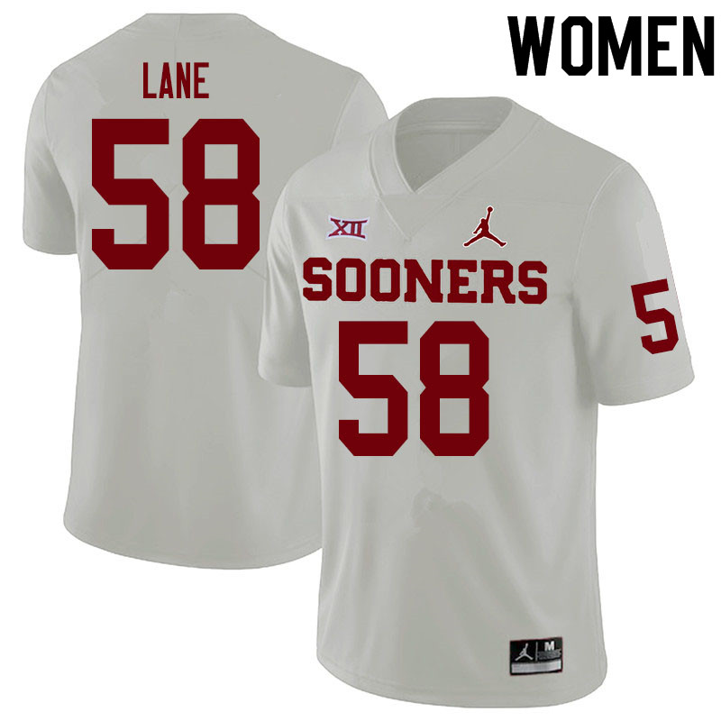 Women #58 Ethan Lane Oklahoma Sooners College Football Jerseys Sale-White