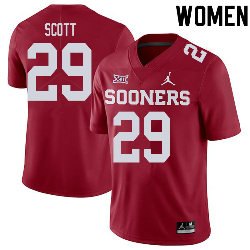 Women #29 Jaedyn Scott Oklahoma Sooners College Football Jerseys Sale-Crimson