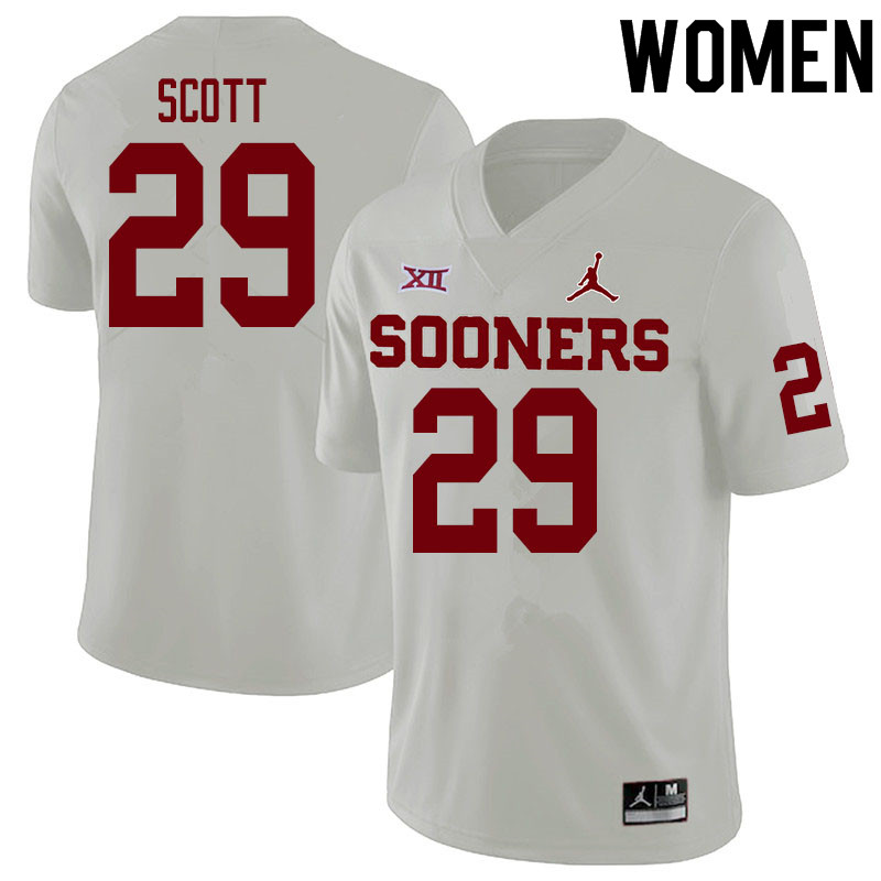 Women #29 Jaedyn Scott Oklahoma Sooners College Football Jerseys Sale-White