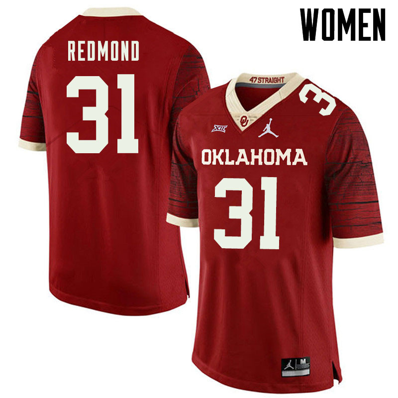 Jordan Brand Women #31 Jalen Redmond Oklahoma Sooners College Football Jerseys Sale-Retro