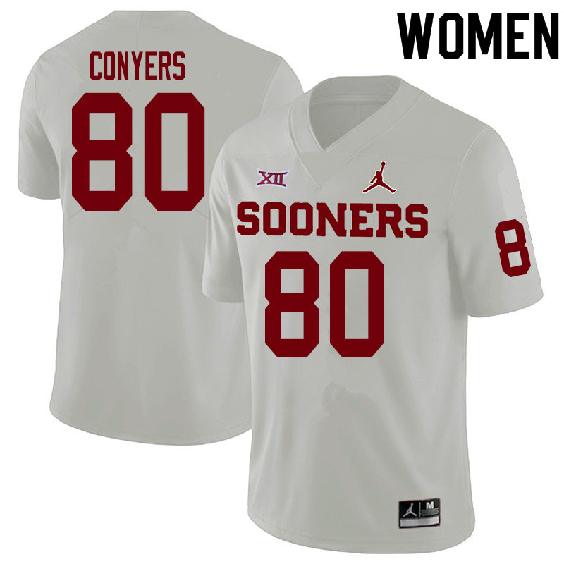 Women #80 Jalin Conyers Oklahoma Sooners College Football Jerseys Sale-White