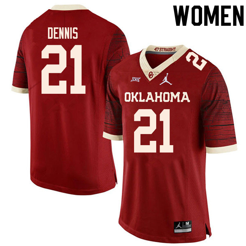 Women #21 Kendall Dennis Oklahoma Sooners College Football Jerseys Sale-Retro