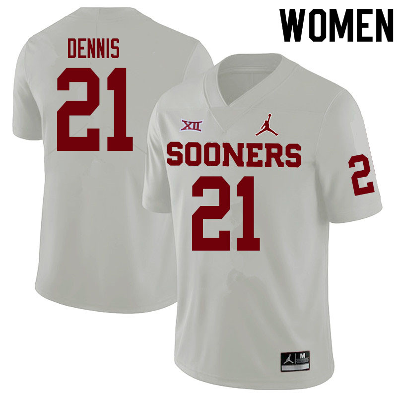 Women #21 Kendall Dennis Oklahoma Sooners College Football Jerseys Sale-White