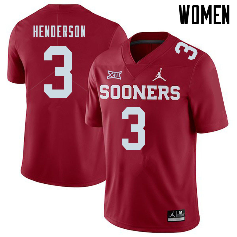 Jordan Brand Women #3 Mikey Henderson Oklahoma Sooners College Football Jerseys Sale-Crimson