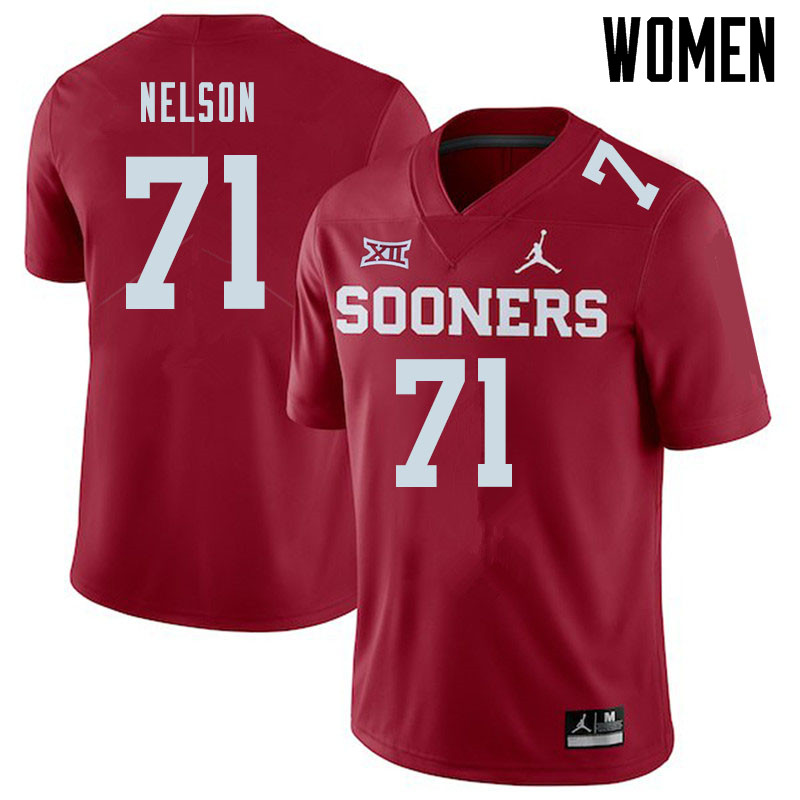 Jordan Brand Women #71 Noah Nelson Oklahoma Sooners College Football Jerseys Sale-Crimson