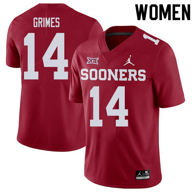 Women #14 Reggie Grimes Oklahoma Sooners College Football Jerseys Sale-Crimson