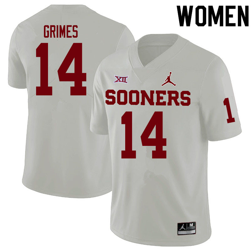 Women #14 Reggie Grimes Oklahoma Sooners College Football Jerseys Sale-White