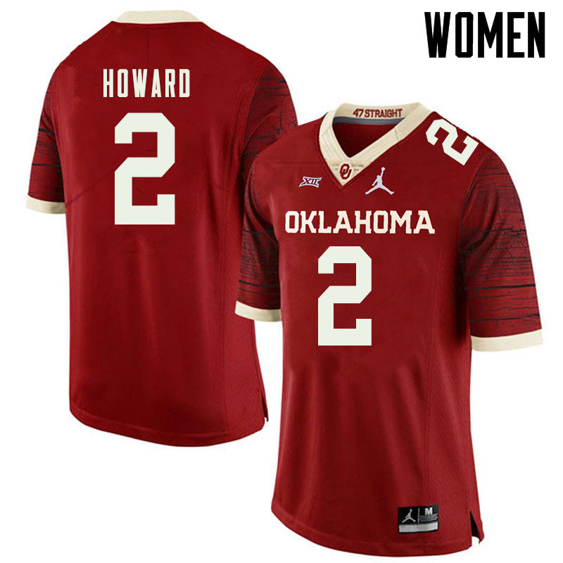Jordan Brand Women #2 Theo Howard Oklahoma Sooners College Football Jerseys Sale-Retro