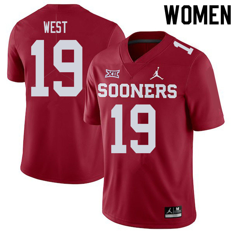 Women #19 Trevon West Oklahoma Sooners College Football Jerseys Sale-Crimson
