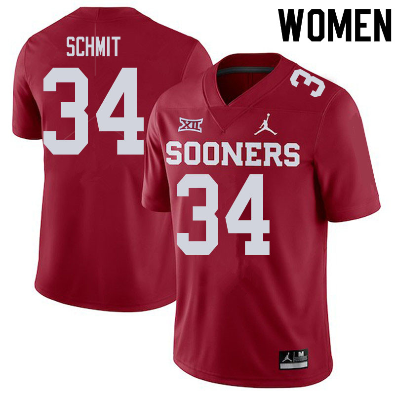 Women #34 Zach Schmit Oklahoma Sooners College Football Jerseys Sale-Crimson