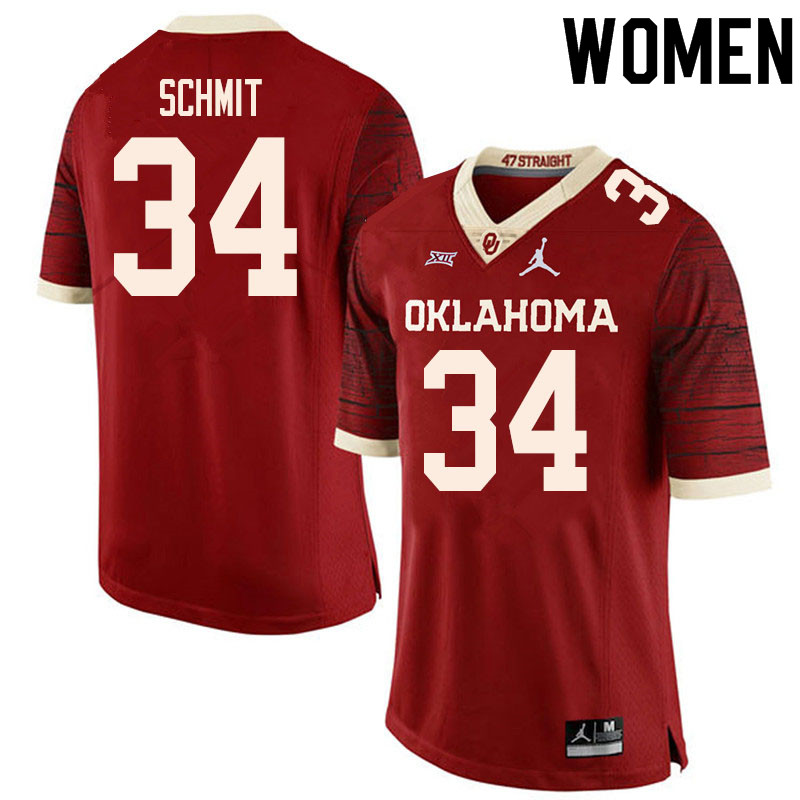 Women #34 Zach Schmit Oklahoma Sooners College Football Jerseys Sale-Retro