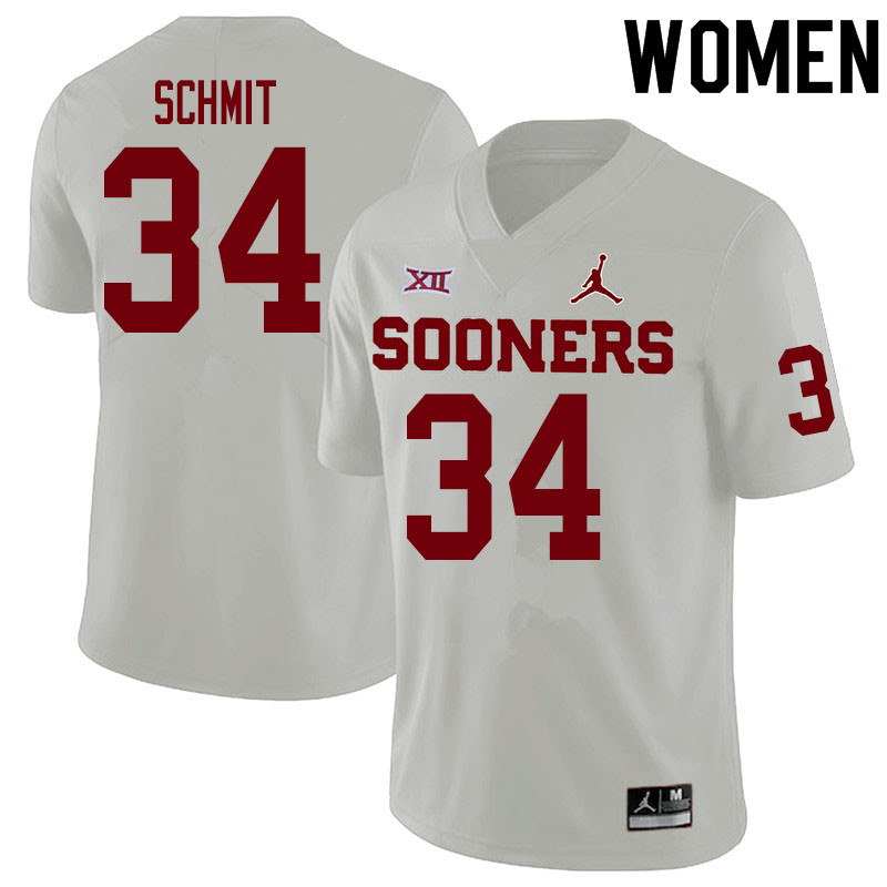 Women #34 Zach Schmit Oklahoma Sooners College Football Jerseys Sale-White