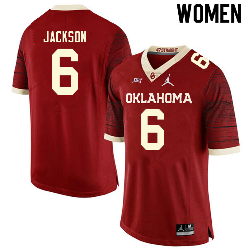 Women #6 Cody Jackson Oklahoma Sooners College Football Jerseys Sale-Retro