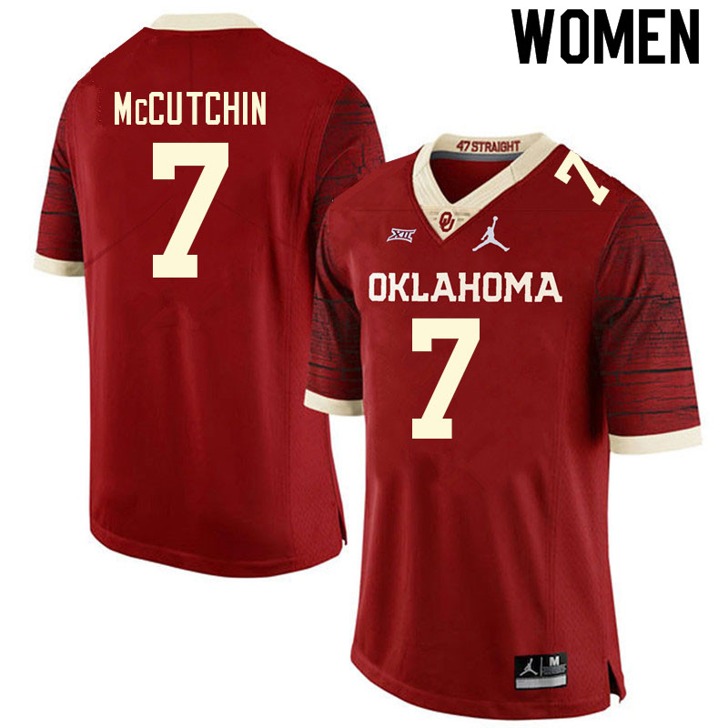 Women #7 Latrell McCutchin Oklahoma Sooners College Football Jerseys Sale-Retro