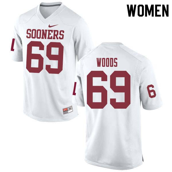Women #69 Clayton Woods Oklahoma Sooners College Football Jerseys Sale-White