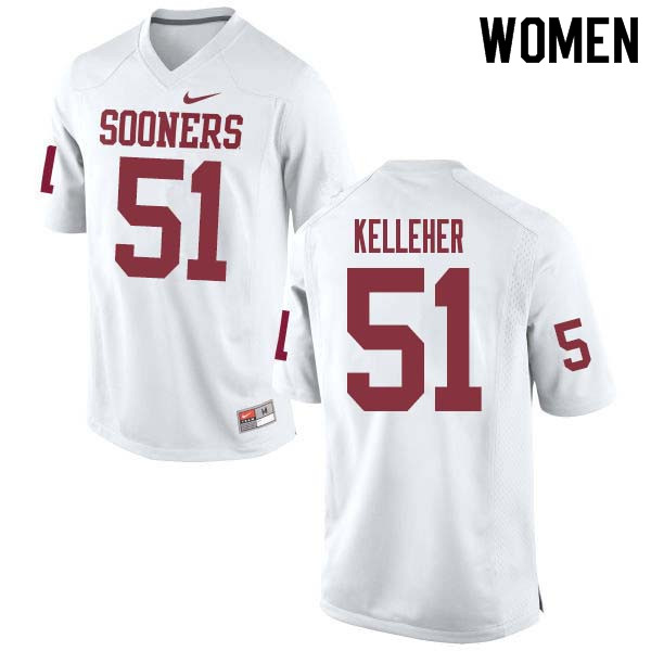 Women #51 Kasey Kelleher Oklahoma Sooners College Football Jerseys Sale-White
