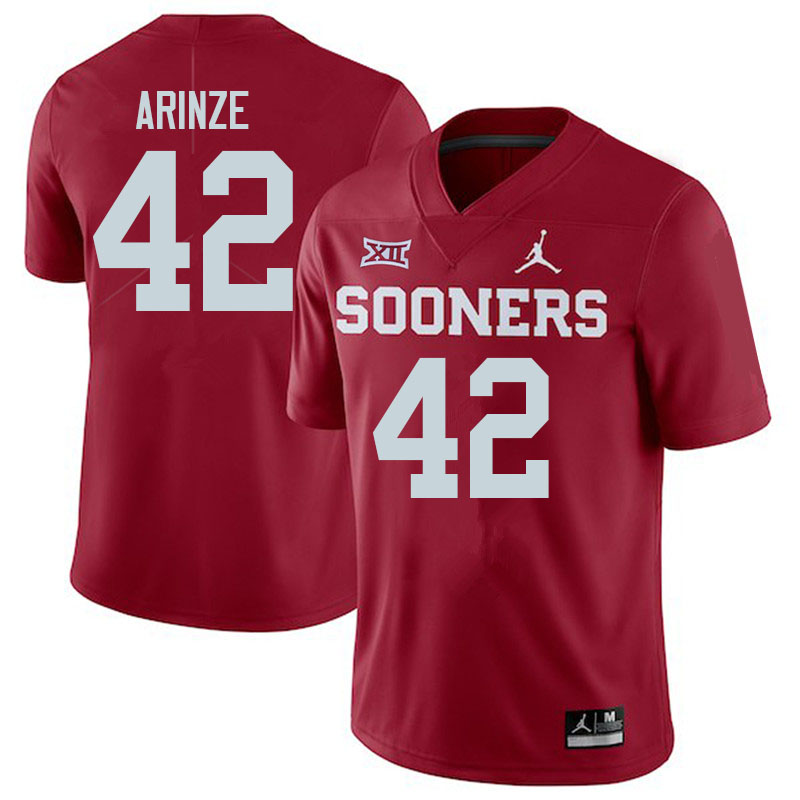 Women #42 Noah Arinze Oklahoma Sooners College Football Jerseys Sale-Crimson