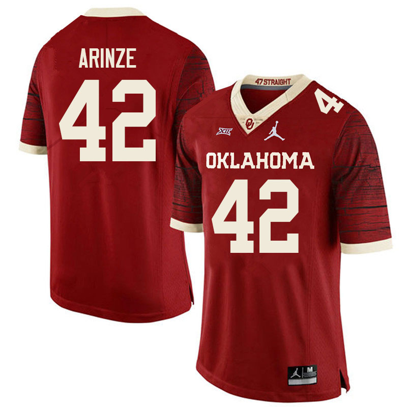 Women #42 Noah Arinze Oklahoma Sooners College Football Jerseys Sale-Retro