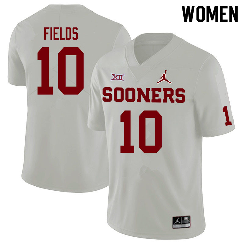 Jordan Brand Women #10 Pat Fields Oklahoma Sooners College Football Jerseys Sale-White