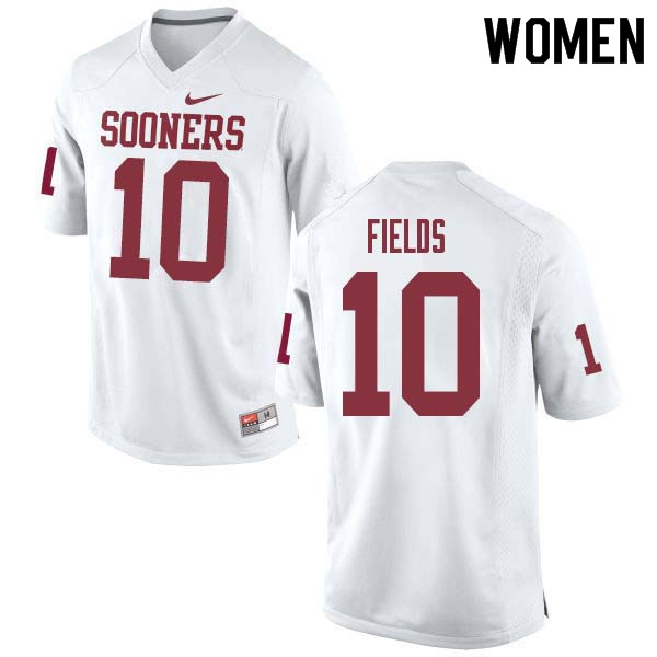 Women #10 Patrick Fields Oklahoma Sooners College Football Jerseys Sale-White