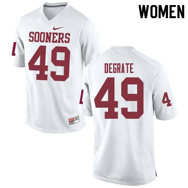 Women #49 Travis DeGrate Oklahoma Sooners College Football Jerseys Sale-White