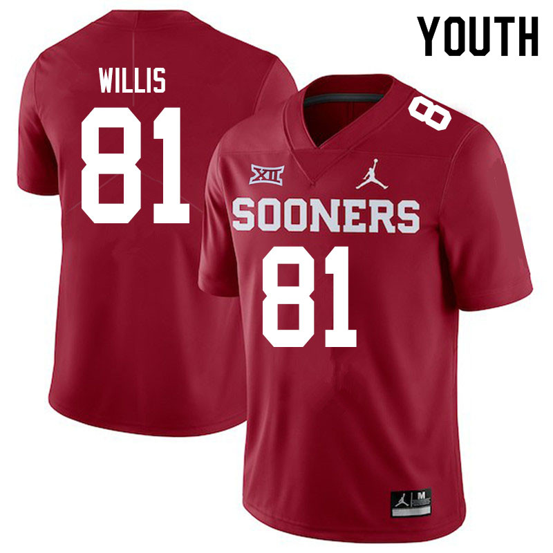 Youth #81 Brayden Willis Oklahoma Sooners Jordan Brand College Football Jerseys Sale-Crimson