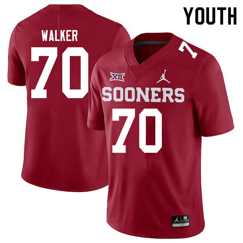 Youth #70 Brey Walker Oklahoma Sooners Jordan Brand College Football Jerseys Sale-Crimson