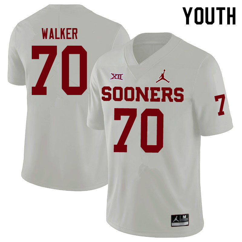 Youth #70 Brey Walker Oklahoma Sooners Jordan Brand College Football Jerseys Sale-White