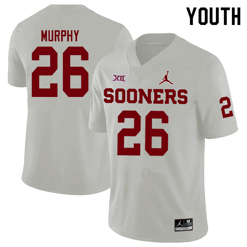 Youth #26 Caleb Murphy Oklahoma Sooners Jordan Brand College Football Jerseys Sale-White