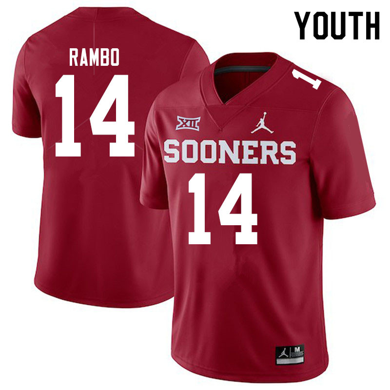 Youth #14 Charleston Rambo Oklahoma Sooners Jordan Brand College Football Jerseys Sale-Crimson